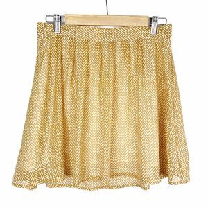 Old Navy Short Burnt Yellow Patterned Skirt
